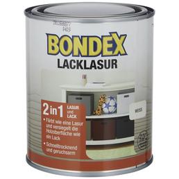 BONDEX Lack-Lasur, für innen, 0,75 l, weiß, seidenglänzend
