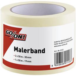 GO/ON! Malerband, 2x 50 m x 30 mm, 1x 50 m x 19 mm, Beige