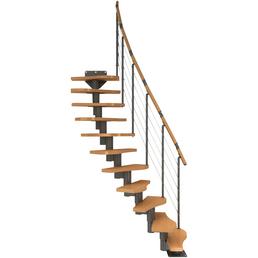 DOLLE Mittelholmtreppe »Basel«, Buche, Grau, bis 345 cm Raumhöhe