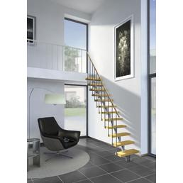 DOLLE Mittelholmtreppe »Dublin«, Birke, Grau, gerade, bis 270 cm Raumhöhe