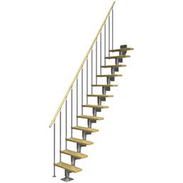 DOLLE Mittelholmtreppe »Dublin«, Birke, Grau, gerade, bis 292 cm Raumhöhe