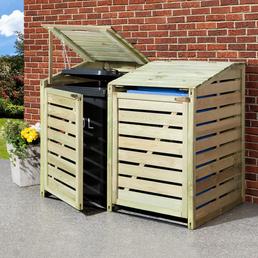 MR. GARDENER Mülltonnenabtrennung, aus Holz, 150x120x90cm (BxHxT), 480 l