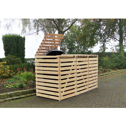 PROMADINO Mülltonnenbox »Vario«, aus Kiefernholz, 219x122x92cm (BxHxT), 720 Liter