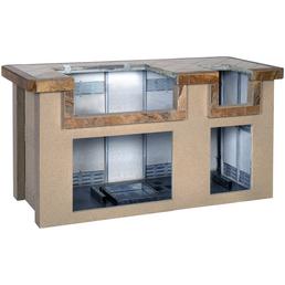 Outdoor-Küche, stahl/porzellan, braun/terrakottafarben, BxHxT: 193 x 99 x 84 cm