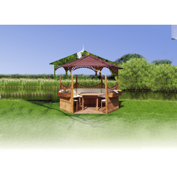 PROMADINO Pavillon-Set »Palma«, sechseckig, BxT: 326 x 326 cm, inkl. Dacheindeckung