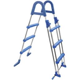 MYPOOL Pool-Leiter, Kunststoff/Edelstahl, blau/Edelstahlfarben, Höhe: 125 cm, geeignet für: Aufstellpools