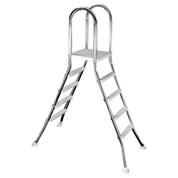 MYPOOL Pool-Leiter, Kunststoff/Edelstahl, weiß, Höhe: 120 cm, geeignet für: Aufstellpools