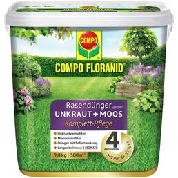 COMPO Rasendünger & Unkrautvernichter »FLORANID«, 9 kg, für 300 m², schützt vor Moos & Unkraut