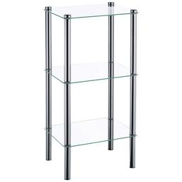 KELA Regal, Lars, 3 Etagen, Metall | Glas, Silber