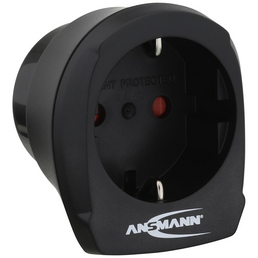 ANSMANN® Reisestecker, schwarz, Kunststoff