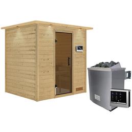 WOODFEELING Sauna »Anja«, inkl. 9 kW Saunaofen mit externer Steuerung für 3 Personen