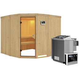 Sauna »Keila 3«, inkl. 9 kW Bio-Kombi-Saunaofen mit externer Steuerung für 4 Personen