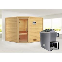 WOODFEELING Sauna »Leona«, BxTxH: 231 x 231 x 231 cm, 9 kw, Saunaofen, ext. Steuerung