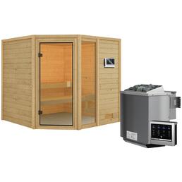 WOODFEELING Sauna »Malyn«, BxTxH: 196 x 196 x 196 cm, 4,5 kw, Bio-Kombi-Saunaofen, ext. Steuerung