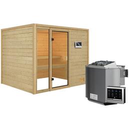 WOODFEELING Sauna »Monnja«, inkl. 4.5 kW Bio-Kombi-Saunaofen mit externer Steuerung für 4 Personen