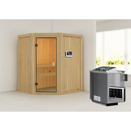 WOODFEELING Sauna »Otta«, inkl. 9 kW Bio-Kombi-Saunaofen mit externer Steuerung für 3 Personen