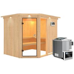 Sauna »Paide 3«, inkl. 9 kW Bio-Kombi-Saunaofen mit externer Steuerung für 4 Personen