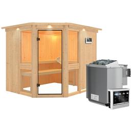 KARIBU Sauna »Pölva 3«, inkl. 9 kW Bio-Kombi-Saunaofen mit externer Steuerung für 4 Personen