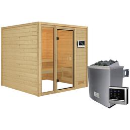 WOODFEELING Sauna »Senja«, inkl. 4.5 kW Saunaofen mit externer Steuerung für 4 Personen