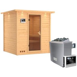 KARIBU Sauna »Sindi«, BxTxH: 221 x 198 x 198 cm, 9 kw, Saunaofen, ext. Steuerung