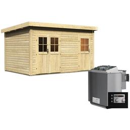 WOODFEELING Saunahaus »Niska«, BxTxH: 426 x 276 x 238 cm, 9 kW Bio-Kombi-Ofen mit ext. Steuerung