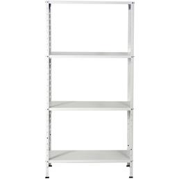 GO/ON! Schraubregal, Typ 150, LxBxH: 30 x 75 x 150 cm, Weiß, 120kg Tragkraft (30kg je Boden)
