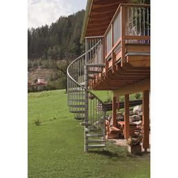 MINKA Spindeltreppe »Rondo Zink«, 12 Profilstufen, silber, 300 cm Geschosshöhe