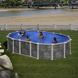 GRE Stahlwand-Pool,  oval, B x L x H: 375 x 610 x 132 cm