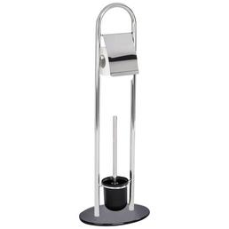 WENKO Stand-WC-Garnitur »Atlanta«, schwarz/edelstahlfarben