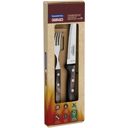 TRAMONTINA Steakbesteck »Churrasco«, aus rostfreier Edelstahl/Holz