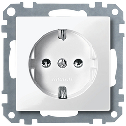 merten Steckdoseneinsatz, LxBxH: 7,1 x 7,1 x 4 cm, IP20, Weiß