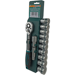 BRUEDER MANNESMANN WERKZEUGE Steckschlüsselsatz 12-teilig, Schlüsselgröße: 10 – 22 mm