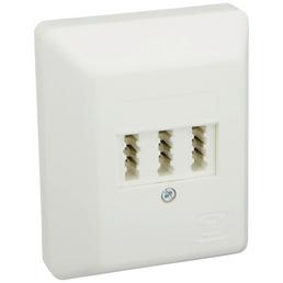 SCHWAIGER TAE-Anschlussdose AP, 2x6/6 NF/F, Weiß, Kunststoff, Telefon und Zusatzgeräte