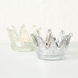 BOLTZE Teelichthalter »Crown«, silberfarben/transparent (milchig)