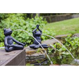 HEISSNER Teichfigur, Yoga-Frosch im Schneidersitz, Höhe: 40  cm, Polyresin, anthrazit