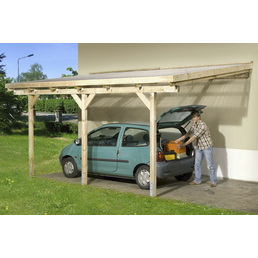 WEKA Terrassenüberdachung »671 Gr. 3«, Breite: 347 cm, Dach: Kunststoff, gruen|braun