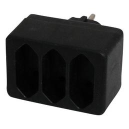 REV-Ritter Übergangsstecker, 3-fach, Schwarz, Kunststoff