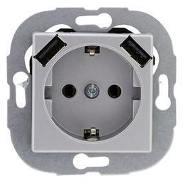REV-Ritter USB-Kombi-Steckdose, Quadro, 1-fach, Silber