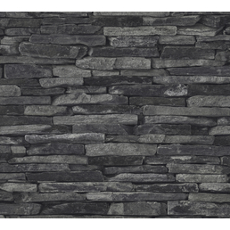 Vliestapete »Best of Wood´n Stone«, schwarz, strukturiert, für Feuchträume geeignet