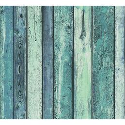 RENOVO Vliestapete »Holzmotiv«, türkis/blau, strukturiert, für Feuchträume geeignet