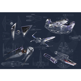 Vliestapete »Star Wars Blueprint Dark«, bunt, glatt