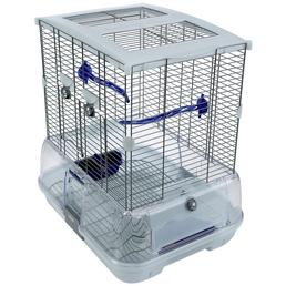 Vogelkäfig, BxHxT: 45,7 x 50,8 x 35,6 cm, weiss/blau