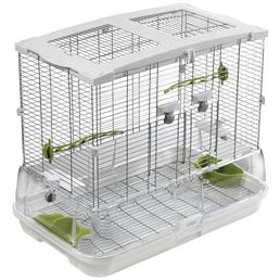 Vogelkäfig, BxHxT: 60,9 x 52 x 38,1 cm, weiss/grün