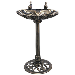 Vogeltränke, Muschel, Höhe: 80  cm, Kunststoff, bronzefarben