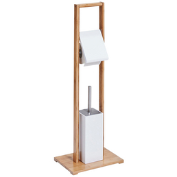 ZELLER WC-Bürsten & WC-Garnituren, mitteldichte_faserplatte_mdf/bambus, lackiert, weiß/natur