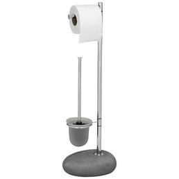 WENKO WC-Bürsten & WC-Garnituren »Pebble«, Stahl/Polyresin, chromfarben/grau