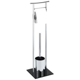 WENKO WC-Garnitur »Japan«, stahl/sicherheitsglas, schwarz/chromfarben
