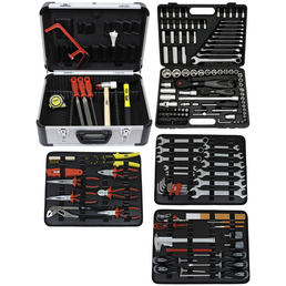 FAMEX Werkzeugkoffer »FAMEX 719-44«, Aluminium, bestückt, 214-teilig