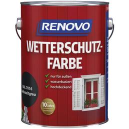 RENOVO Wetterschutzfarbe, anthrazitgrau, deckend, 2.5l