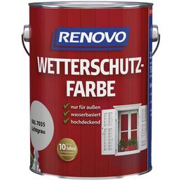 RENOVO Wetterschutzfarbe, für außen, 2,5 l, Lichtgrau, seidenglänzend